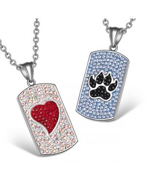 Heart Wolf Paw Austrian Crystal Love Couples Best Friends Dog Tag Red White Black Blue Necklaces