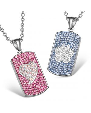 Heart and Wolf Paw Austrian Crystal Love Couples Best Friends Dog Tag Pink White Sky Blue Necklaces