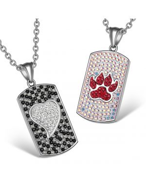 Heart Wolf Paw Austrian Crystal Love Couples Best Friends Dog Tag Rainbow White Black Red Necklaces