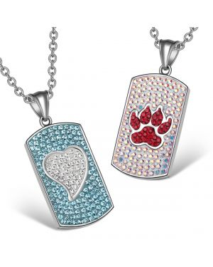 Heart and Wolf Paw Austrian Crystal Love Couples Best Friends Dog Tag White Aqua Blue Red Necklaces
