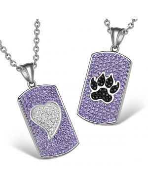 Heart Wolf Paw Austrian Crystal Love Couples Best Friends Dog Tag Purple White Jet Black Necklaces