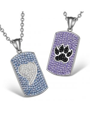 Heart Wolf Paw Austrian Crystal Love Couples Best Friends Dog Tag Purple Blue White Black Necklaces