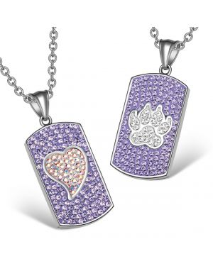 Heart Wolf Paw Austrian Crystal Love Couples Best Friends Dog Tag Rainbow White Purple Necklaces