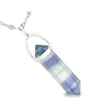 "Amulet 925 Sterling Silver Fluorite Crystal Point Natural Energy Healing Powers Pendant on 18"" Steel Necklace"