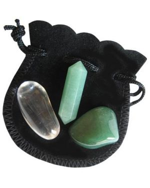 Aventurine Money Crystal Point Talisman Pouch