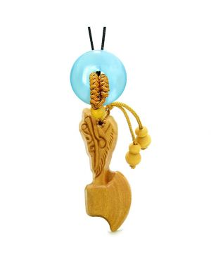 Axe Good Luck Car Charm or Home Decor Sky Blue Simulated Cats Eye Lucky Coin Donut Protect Amulet