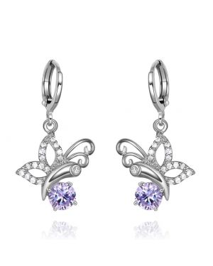 Magical Cute Butterflies Lucky Charms Silver-Tone Purple White Crystals Unique Earrings