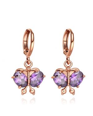 Magical Beautiful Butterflies Lucky Charms Amulets Gold-Tone Cute Purple Crystals Earrings