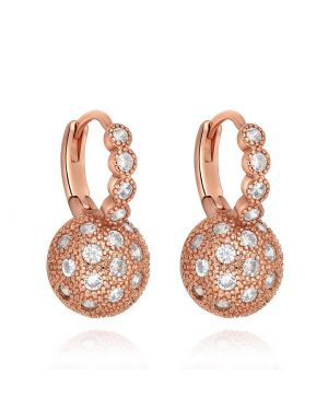 Fancy Magical Sun Moon Positive Energy Powers Gold-Tone Snow White Sparkling Crystal Earrings