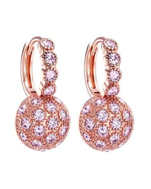 Fancy Magical Sun Moon Positive Energy Powers Gold-Tone Sweet Pink Sparkling Crystal Earrings