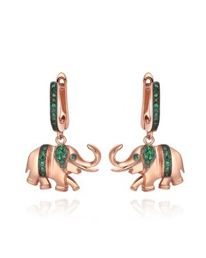 Lucky Cute Trunk Up Elephant Charms Amulets Royal Green Sparkling Crystals Gold-Tone Earrings