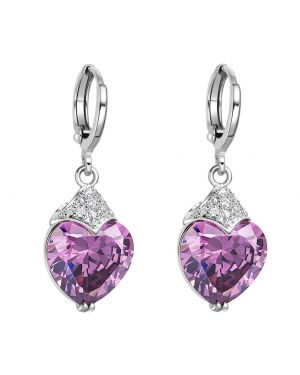 Fancy Magic Royal Purple Hearts Lucky Charms Amulets Cross Style Back Setting Crystals Earrings
