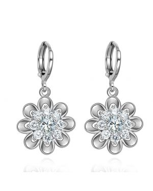Fancy Magical Sunflower Style Positive Energy Lucky Charms Silver-Tone Crystals Amulet Earrings