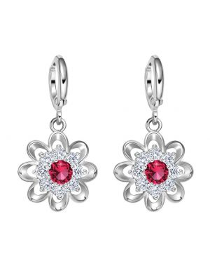 Fancy Magical Sunflower Positive Energy Charms Silver-Tone Royal Red Crystals Amulet Earrings