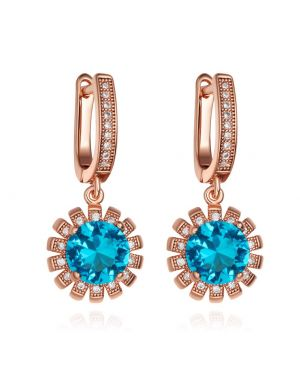 Fancy Amazing Magical Sun Shape Positive Powers Gold-Tone Sky Blue White Crystals Earrings