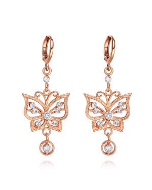 Fancy Beautiful Magic Butterflies Lucky Charms Amulets Gold-Tone White Sparkling Crystals Earrings