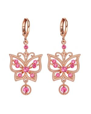 Fancy Beautiful Magic Butterflies Lucky Charm Amulet Gold-Tone Royal Pink Crystals Earrings