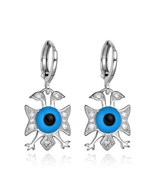 American Eagle and Evil Eye Protection Powers Amulets Silver-Tone Snow White Crystals Earrings