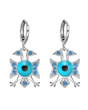 American Eagle and Evil Eye Protection Powers Amulets Silver-Tone Royal Blue Crystals Earrings