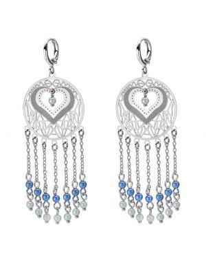 Beautiful Magical Heart Circles Silver-Tone Lucky Charms Green Blue Simulated Pearls Earrings