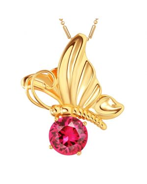 Magical Butterfly Good Luck Charm Amulet Gold-Tone Stud Royal Pink Crystal 18 Inch Necklace