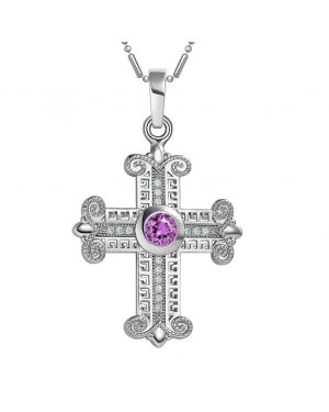 Amazing Cross Silver-Tone Royal Purple Sparkling Crystals Positive Powers Amulet Pendant Necklace