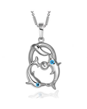 Cute Magical Dolphins Family Eternity Circle Silver-Tone Evil Eye Protection Powers Necklace
