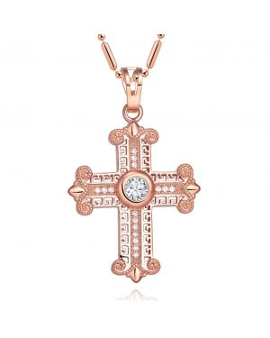 Amazing Cross Gold-Tone Stud Style Sparkling Crystals Positive Powers Amulet Pendant Necklace