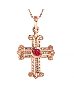 Amazing Cross Gold-Tone Royal Red Sparkling Crystals Positive Power Amulet Pendant 18 Inch Necklace