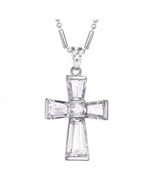 Fancy Stunning Cross Protection Powers Amulet Silver-Tone Baguette Princess Cut Crystals Necklace