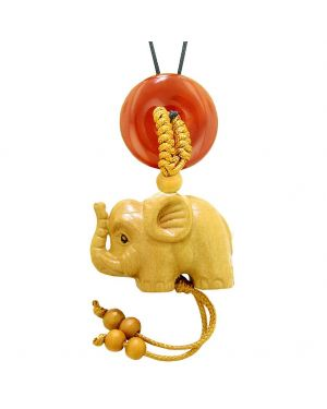 Baby Elephant Good Luck Car Charm or Home Decor Carnelian Lucky Coin Donut Protection Magic Cute Amulet
