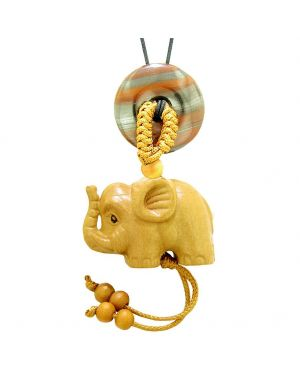 Baby Elephant Good Luck Car Charm or Home Decor Dragon Eye Iron Lucky Coin Donut Protection Cute Amulet
