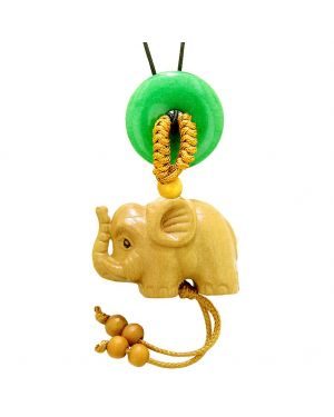 Baby Elephant Good Luck Car Charm or Home Decor Green Quartz Lucky Coin Donut Protection Cute Amulet