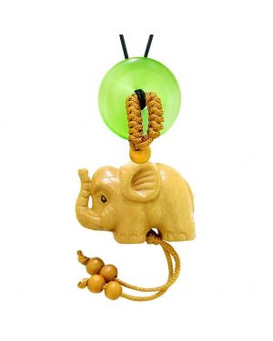 Baby Elephant Good Luck Car Charm or Home Decor Green Simulated Cats Eye Lucky Coin Donut Cute Amulet