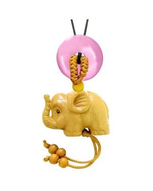 Baby Elephant Good Luck Car Charm or Home Decor Pink Simulated Cats Eye Lucky Coin Donut Cute Amulet