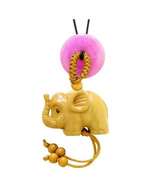 Baby Elephant Good Luck Car Charm or Home Decor Hot Pink Quartz Lucky Coin Donut Protection Cute Amulet