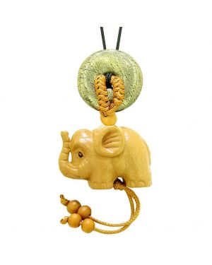 Baby Elephant Good Luck Car Charm or Home Decor Golden Pyrite Iron Lucky Coin Donut Magic Cute Amulet