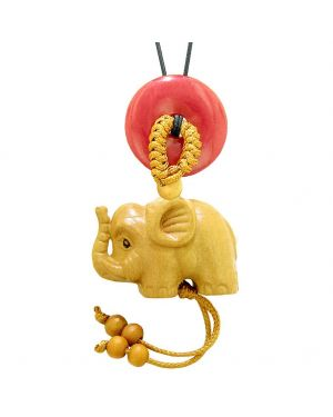 Baby Elephant Good Luck Car Charm or Home Decor Red Quartz Lucky Coin Donut Protection Magic Cute Amulet
