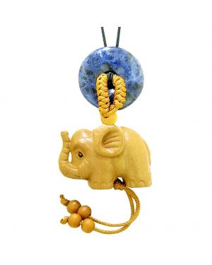 Baby Elephant Good Luck Car Charm or Home Decor Sodalite Lucky Coin Donut Protection Magic Cute Amulet