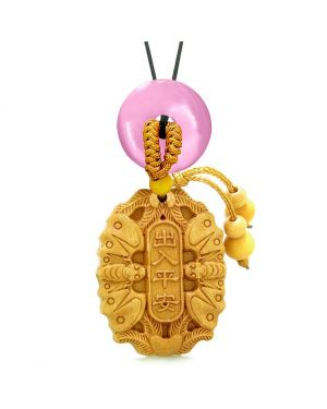 Double Lucky Bat Car Charm or Home Decor Pink Simulated Cats Eye Magic Coin Donut Protection Amulet