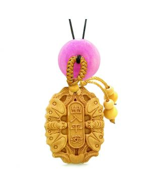 Double Lucky Bat Car Charm or Home Decor Hot Pink Quartz Magic Coin Donut Protection Powers Amulet