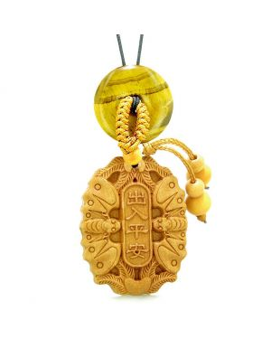 Double Lucky Bat Car Charm or Home Decor Tiger Eye Magic Coin Donut Protection Powers Amulet