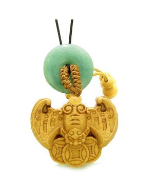 Flying Bat Lucky Coins Car Charm or Home Decor Golden Green Quartz Donut Protection Powers Amulet