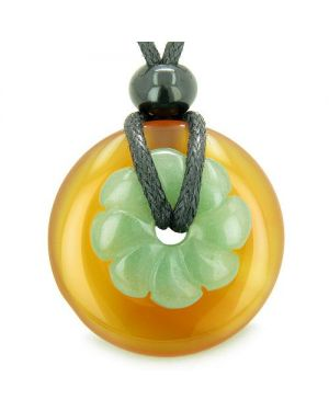 Double Lucky Amulet Magic Donut Flower Carnelian Aventurine Protection Healing Pendant Necklace