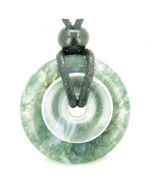 Individual Magic Circles Amulet Double Lucky Donuts Green Moss Agate Rock Quartz Pendant Necklace