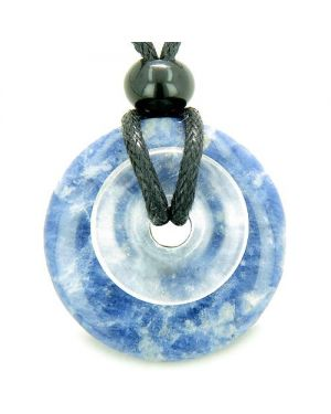 Individual Magic Circles Amulet Double Lucky Donuts Sodalite Rock Quartz Gemstones Pendant Necklace