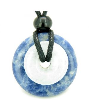 Double Lucky Amulet Magic Donuts Sodalite White Jade Protection Good Luck Pendant Necklace