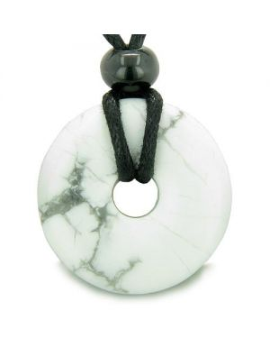 Amulet Lucky Magic Donut White Howlite Gemstone Crystals Aura ProtectiHealing Pendant Necklace