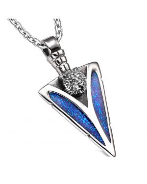 Arrowhead Grizzly Bear Head Brave Powers Protection Amulet Sparkling Royal Blue Pendant 18 Inch Necklace