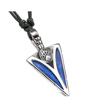 Arrowhead Grizzly Bear Paw Brave Power Protection Amulet Sparkling Royal Blue Pendant Adjustable Necklace
